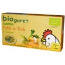 Caldo de pollo con verduras en dados